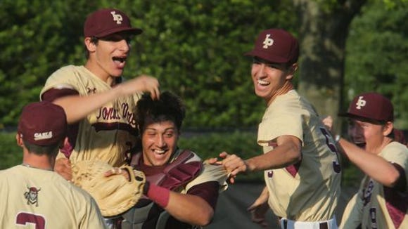 Iona Prep celebrates Joe LaSorsa's no-hitter in a 4-0