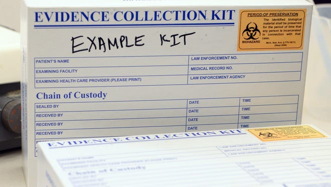 An example rape kit was shown to Gov. Rick Snyder and others Thursday during a tour at the Michigan State Police Forensic Science Lab in Lansing.