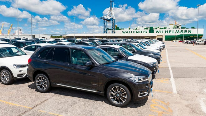 BMWs are ready to be loaded onto a ship for export at the port of Charleston. About $8.76 billion worth of X model vehicles, all assembled in Spartanburg County, were exported through the port in 2017.