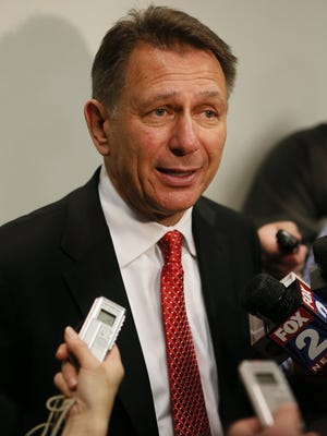 Detroit Red Wings general manager Ken Holland talks to the media April 29, 2014.