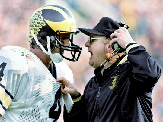 Jim Harbaugh and Bo Schembechler in the Rose Bowl on Jan. 2, 1987.
