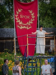 Brutus (played by Christina Delaine) delivers a speech