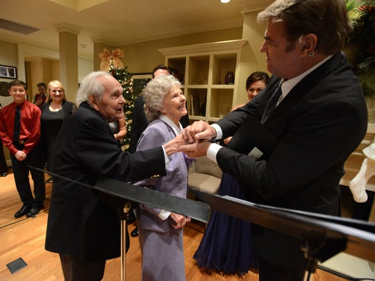 Jack and Carolyn Flemming shake hands with Broadway