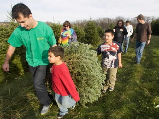 Joey Bryant, 4, center, pulls a Christmas tree home