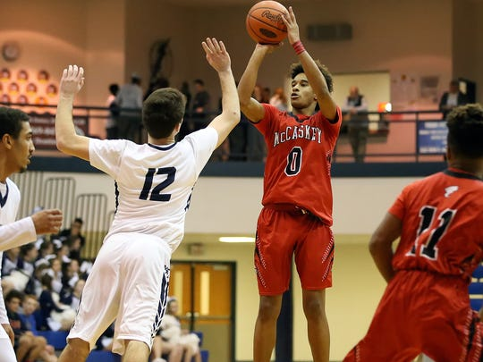 McCaskey's Kobe Gantz (0) puts up a shot during a regular-season game at Manheim Township on Jan. 28. Slowing Gantz will be a top defensive focus for Elco in Saturday's L-L first-round matchup.