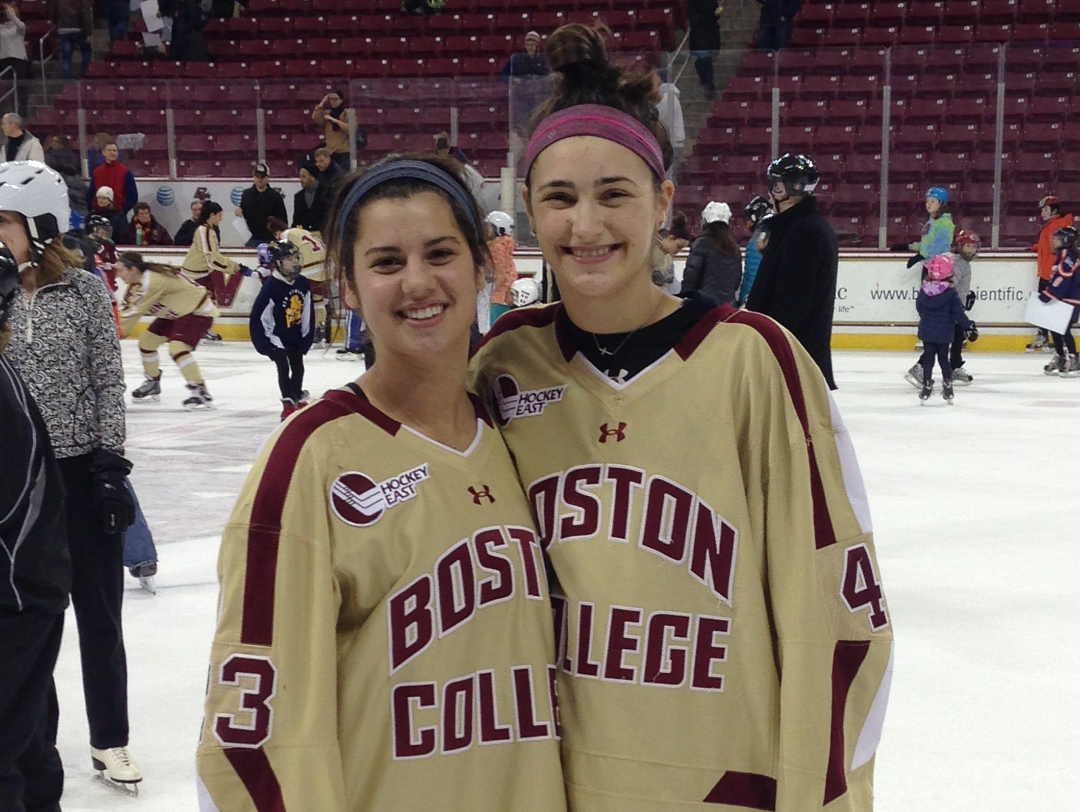 Boston College's Megan Keller, right, and Andi Anastos.