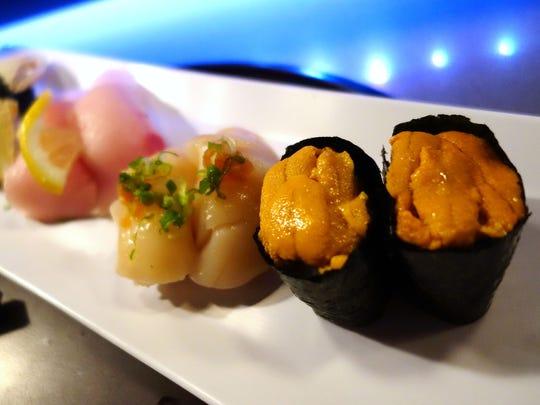Nigiri Sushi at Hana Japanese Eatery. (From front to back, uni, hotate, hamachi, tamago.)