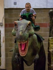 Rides on animatronic dinosaurs will be part of Jurassic Quest this weekend at the Richland County Fairgrounds.