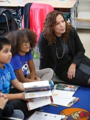 Angelica Infante-Green, associate commissioner of the Office of Bilingual Education and Foreign Language Studies for the New York State Board of Regents, visited Washington Irving Intermediate School in Tarrytown on Nov. 10, 2014.  She toured the dual language classes that are offered at the school.