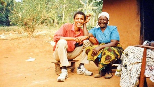 Obama poses with his step-grandmother, Sarah Obama,