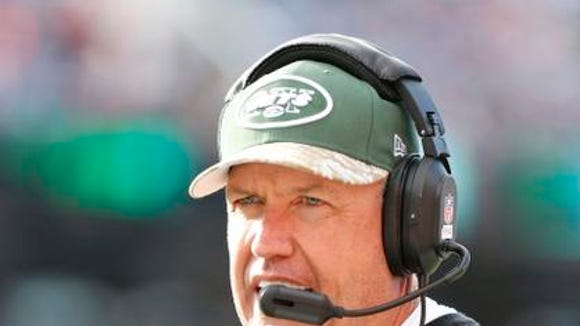 New York Jets head coach Rex Ryan on the sideline during the first half against the Buffalo Bills at Ralph Wilson Stadium.
