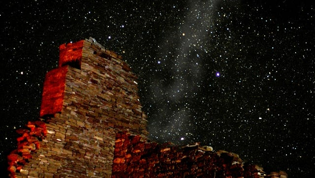 A great house at Chaco Culture National Historical Park is pictured at night. The park's first-ever Astronomy Festival will continue through Sunday.