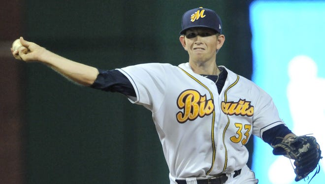 Montgomery Biscuits' Cameron Seitzer (33) during their game with Mississippi Braves at Riverwalk Stadium on Saturday, May 31, 2014.
