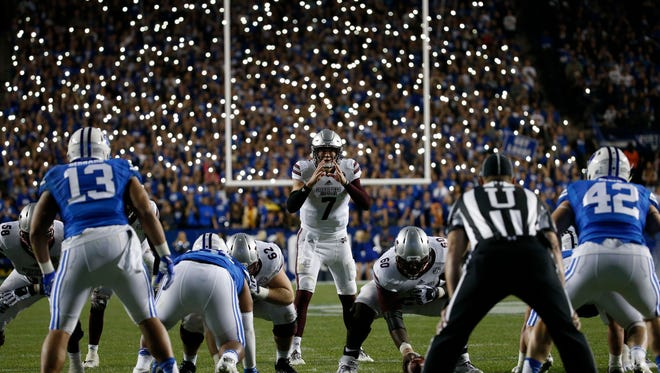 Mississippi State Bulldogs quarterback Nick Fitzgerald (7) waits for the snap in overtime against the Brigham Young Cougars at Lavell Edwards Stadium. Mandatory Credit: Jeff Swinger-USA TODAY Sports