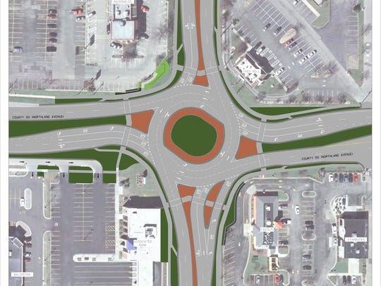 An architectural drawing shows the design of the roundabout