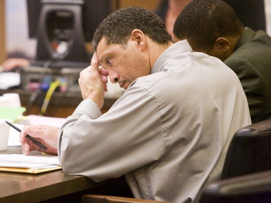 Mark Goudeau sits at the defendant's table during his July 2007 trial in Phoenix.