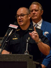 Pensacola Police Chief Tommi Lyter speaks during a