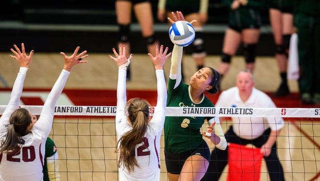 Colorado State outside hitter Jasmine Hanna (6) is one of the key returning players for the No. 25 Rams, who open the season at 6 p.m. Friday at Moby Arena.