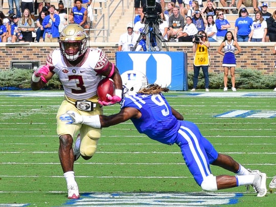 Florida State freshman running back Cam Akers tallied 115 yards on 15 carries to go along with a 42-yard touchdown burst during the Seminoles 17-10 victory over Duke on Saturday afternoon at Wallace Wade Stadium.