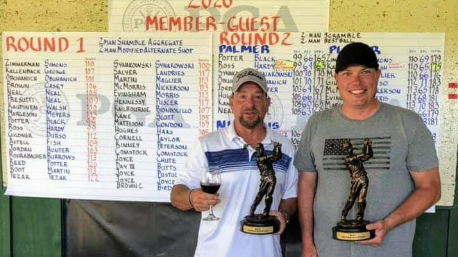 Kevin Ross, left, and Tim Hardy wrapped up the 2020 Wellsville Country Club Men's Member-Guest Tournament championship over the weekend. Ross and Hardy were tied with Jim Potter and Kent Black atop the leaderboard following Round 1 after both teams opened with a 99 in the 2-man scramble. The format shifted to a 2-man best ball in Round 2. Hardy and Ross fired a 64 for a two-day total of 163, narrowly edging Potter and Black, who carded a 66 in Round 2 for a 165.