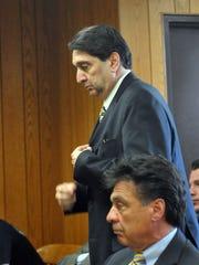 Hackensack NJ 5/16/2012  Trial of Ken Zisa.   Jury deliberations   Day 3  Before sentencing Ken Zisa walking past his brother Jack Zisa in court room.