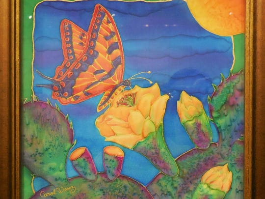 """Carol Wenz uses dye on silk to create """"Flutter By."""""""