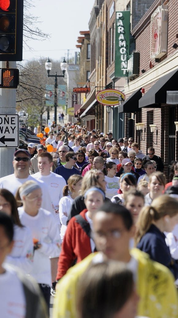 A crowd gathers downtown Sioux Falls.