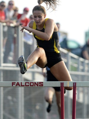 Colonel Crawford's Callie Ruffener wins the 300 meter hurdles to go with her first in the pole vault Friday in the Division III regional meet at Lancaster Fairfield Union.