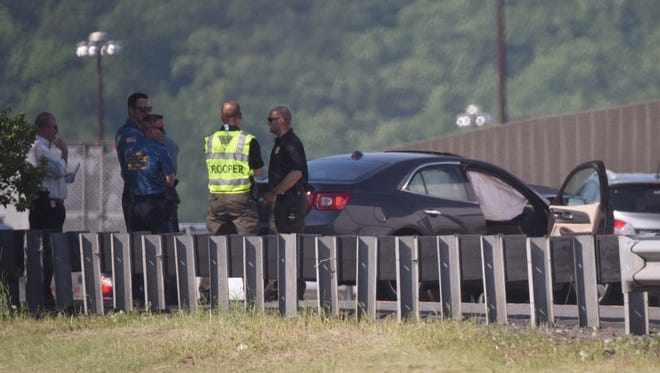 The scene of a crash on Route 287 in Mahwah.