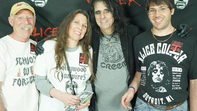 Rain Kemperman and her family meet Alice Cooper following a show in 2016.