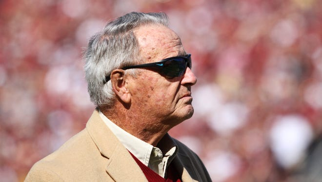 Bobby Bowden observes the crowd in his return to Doak Campbell Stadium in Oct. 2013.