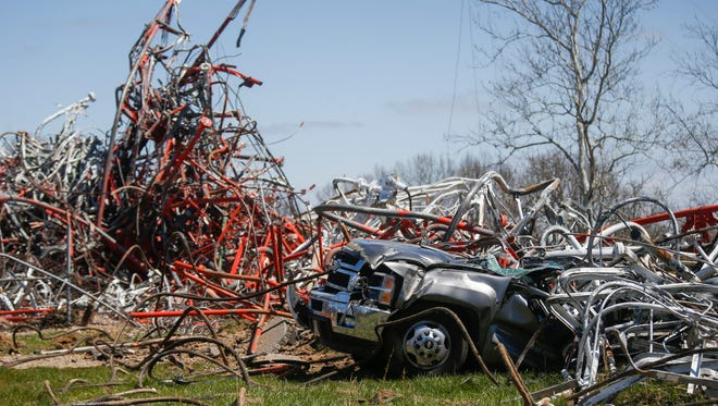 Scenes from a TV tower collapse in Fordland on Thursday, April 19, 2018. One person died and others were injured.