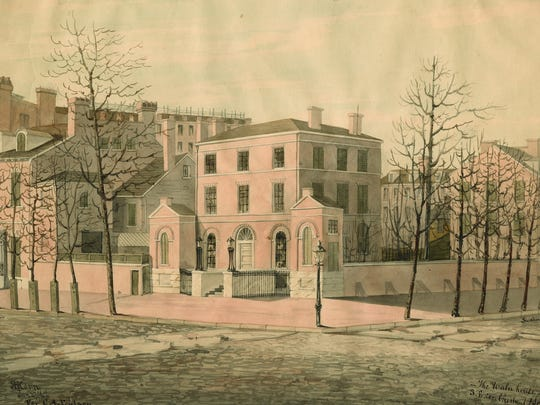 The Waln House is depicted in a small watercolor by American artist Richard Hovenden Kern (1821-1853). It was located on the southeast corner of Chestnut and Seventh streets. Demolished in 1847, te grand mansion is known only through this painting and the Latrobe suite of furniture, and some documents and written accounts.