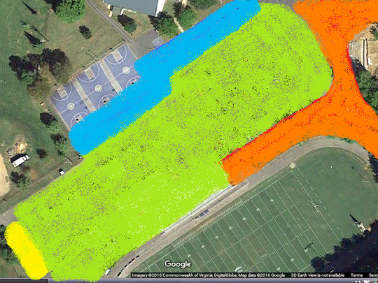 Yellow: stage, green: lawn chair seating, blue: food, orange: fun.