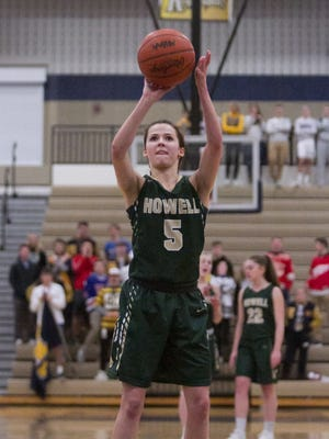 Howell's Alexis Miller was 7-for-8 from the line in overtime and 13-for-16 for the game, scoring a game-high 21 points in a 48-42 overtime victory at Hartland on Tuesday, Jan. 9, 2018.