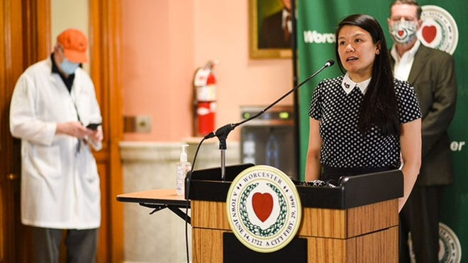 AiVi Nguyen, board chair for the United Way, announces that the United Way of Central Massachusetts and the Worcester Together Fund will each provide $500,000 to the Worcester summer youth programs at the Worcester COVID-19 press conference Thursday at City Hall.
