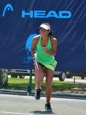 Clair Liu reacts during her singles finals match of the Women's Pro Circuit tournament at Academia Sanchez-Casal in Naples, Fla., on Sunday, May 14, 2017. The unseeded Liu defeated Danielle Collins, 6-3, 6-1.