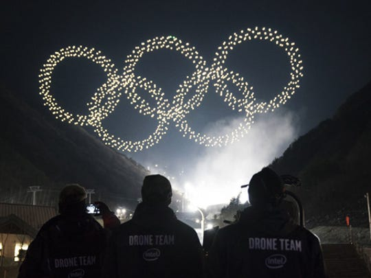 The Intel drone light show team produces the Olympic