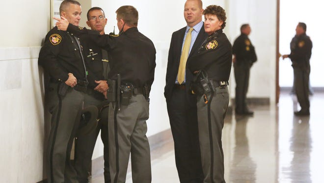 Security is tight on the fifth floor of the Hamilton County Courthouse for the trial of Ray Tensing, former UC officer, who is charged with the murder of Sam DuBose during a routine traffic stop on July 19, 2015.