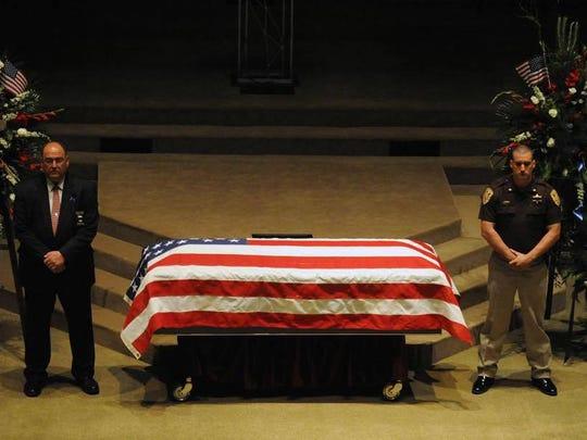 Sheriff Danny Rigel and Major Brad Weathers stood watch
