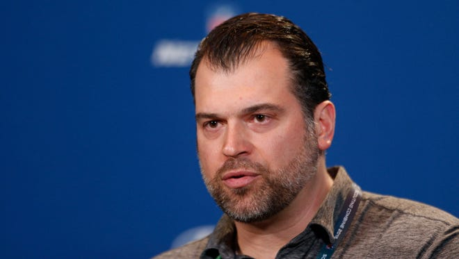 Colts general manager Ryan Grigson speaks to the media during the 2016 NFL Scouting Combine at Lucas Oil Stadium.