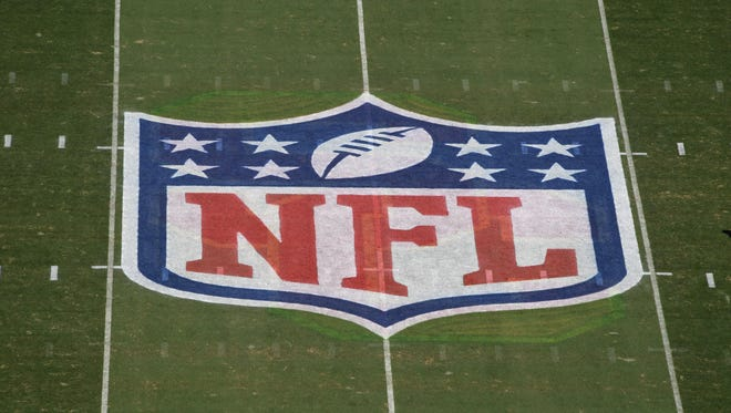 A general overall view of the NFL shield logo at midfield during the game Seattle Seahawks and the Los Angeles Rams at the Los Angeles Memorial Coliseum.
