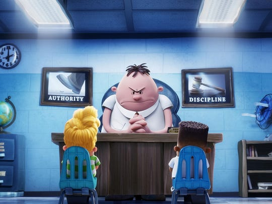 "Harold (voiced by Thomas Middleditch), Mr. Krupp (voiced by Ed Helms) and George (voiced by Kevin Hart) in ""Captain Underpants: The First Epic Movie."""