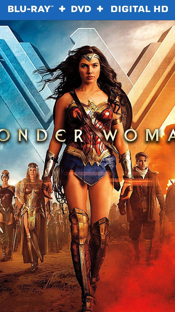 "The Blu-ray package cover art for ""Wonder Woman,"" which"