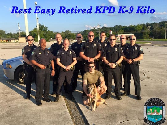 Officer Garrett Fontanez took the ailing Kilo to the Knoxville Police Department's K-9 unit for a last visit July 7. An hour after this picture, Kilo was euthanized.