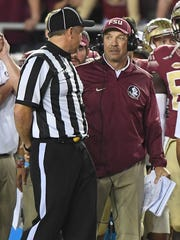 Florida State head coach Jimbo Fisher during the 4th quarter at Florida State's Doak Campbell Stadium in Tallahassee, Fl. on Saturday, October 29, 2016.