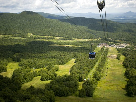 The tram at Jay Peak Resort makes its way up the mountain for summer tourists on Wednesday August 5, 2009.