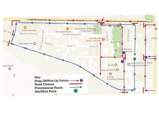 Map of road closures for Santa Marian Kamalen procession,