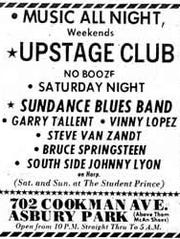 An ad for the Upstage Club features Steve Van Zandt
