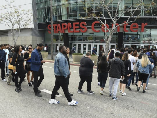 Guests file into the Staples Center to attend the Celebration of Life memorial service for late rapper Nipsey Hussle.